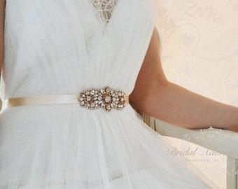 Rose Gold Bridal Sash/Belt