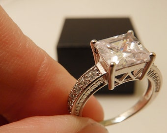 Silver Tone Size 6.5 Large CZ Square Cut Stone Ring