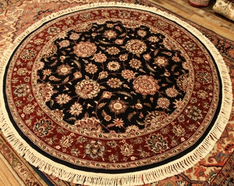 Persian Rug 5' Round Area Rug Handknotted Tabriz Navy Blue Field. Signed Persian Rug ~Gypsy Rugs (481)