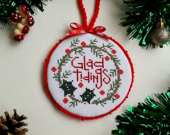 Completed cross stitch ornament, Bent Creek, Glad tidings, Christmas home decor, Christmas gift idea, wall or door hanger.