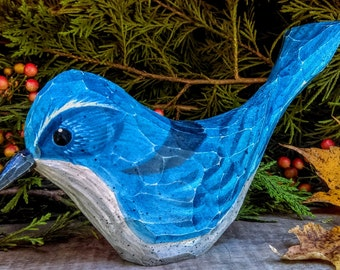Hand Carved Windowsill Bird (Western Scrub Jay)
