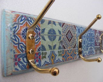 Moroccan / spanish inspired coat hook, ideal for hanging coats, scarves or even jewellery .