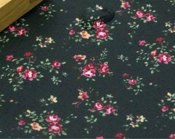 Laminated Cotton Fabric Rose Black By The Yard