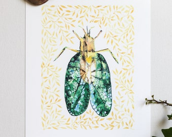 Beetle Art Print • Watercolor Illustration • Wall Art • Home Decor