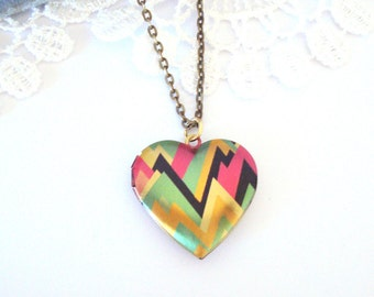 Lightening Locket, Graphic Heart Locket, Geometric Locket Necklace, Birthday Gift Locket