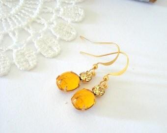 Topaz Dangle Earrings, Crystal Birthstone Earrings, Old Hollywood Earrings, Vintage Jewel Earrings, Gift for Her