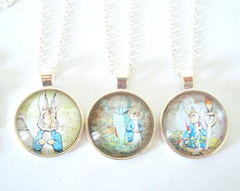 Whimsical Necklace, Large Picture Necklace, Peter Rabbit, Vintage Illustration Pendant, Layering Necklace, Gift for Her