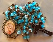 Beautiful Brass Wire Blue First Communion Rosary, Free US Shipping!
