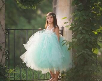 Mint Flower Girl Dress, Mint Tutu Dress, Mint Tulle Dress, Mint Dress, Mint Wedding, Mint