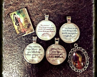 Princess Bride minibook, cover, and quotes necklaces