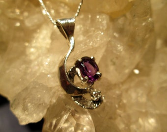 Amethyst & Diamond Necklace ~Sterling Silver~ Hand Cast
