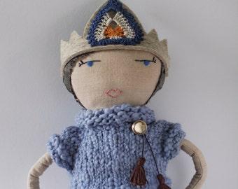 Folly Mae cloth doll / vintage-style royal doll / heirloom gift for girl / waldorf-inspired cloth doll  / OPAL