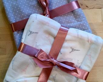French Receiving Blanket - Paris - Eiffel Tower - Newborn - Layette - Knit Blanket - Baby Gift - Baby Shower