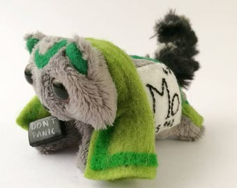 Elemental Cats: Molybdenum (element #42!) - OOAK handmade periodic table science art doll soft toy