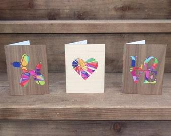 Card Set, Blank Greeting Cards, Greeting Card Set, Wood Card, Note Card, Design Card, Art Greeting Card, Love Card, Heart Card, Modern Card