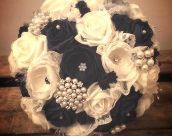 Bridal Bouquet with Ivory and navy blue