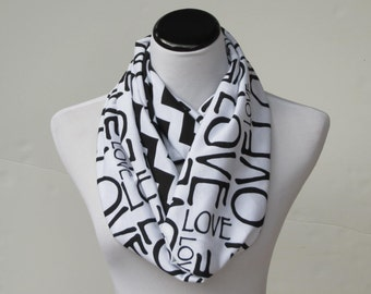 Black and white Valentine's day scarf infinity scarf love letters chevron scarf, reversible scarf Valentine's day gift for women & teen girl