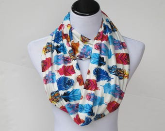 Feathers scarf feather print infinity scarf soft tribal scarf bohemian pastel cream blue teal white orange red scarf loop scarf circle scarf