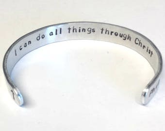 Philippians 4 13 Bible Verse Bracelet ~ I can do all things through Christ ~ Custom cuff scripture jewelry
