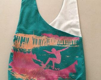 Handmade Upcycled Malibu 1994 Hobo Shoulder Purse