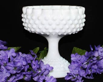 Fenton Hobnail White Milk Glass Candy Dish, Compote, Footed Bowl * Ruffled Crimped Edge * Bridal Floral Centerpiece