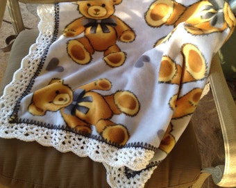 Teddy Bear Nursery Blanket, Baby Blanket, Crocheted Blanket, Fleece Blanket, Baby Boy Blanket