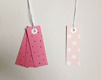 7 gift tags paper tags scraps 3x8,5 cm design graphic gold pink polka dots