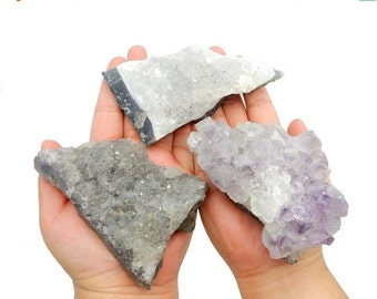 10% Sale Gemshow Set of 3 Amethyst Cluster - Natural Raw Amazing Amethyst Cluster - (RK41B12-02)
