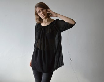 vintage black mesh tunic three quarter flare sleeves balloon top