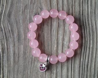 Pink romantic bracelet, chunky elastic bracelet, natural jade beads, pink heart bracelet, pink heart charm, gift for her