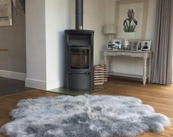 XXL Grey Icelandic sheepskin rug , silver grey,  gray, six skins genuine sheepskin , rug, throw , fur , sofa cover , bed cover, hygge