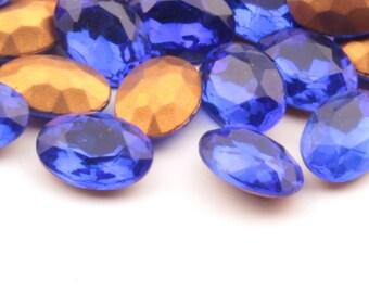 Lot (48) 14x10mm Czech Bohemian vintage foil mirror imitation gemstone sapphire blue oval glass rhinestones D152-123