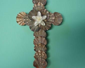 Seashell Wall Cross -Wedding Gift - Religious Gift - Cross Wall Hanging with Seashell Flower - Crucifix - Beach Decor - Faith - Beach Cross