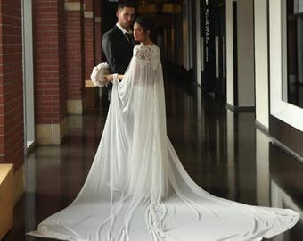 Lace Wedding Cape, bridal cape, bridal accessories, bridal separates, wedding dress alternative, detachable train, chiffon cape