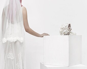 Long Lace Veil, Custom Veil, Double Veil, Cathedral Veil Lace, cathedral veil with blusher, wedding accessories