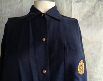 Vintage Ralph Lauren blouse navy blue silk large