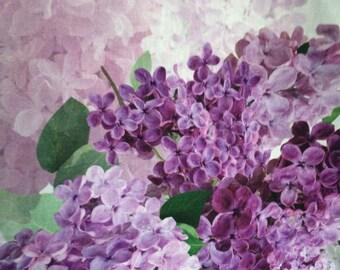 Cotton Canvas fabric Panel with Lilac print  -Digital print - Heavy cotton - 205 cm x  150cm (81'' x 59'')