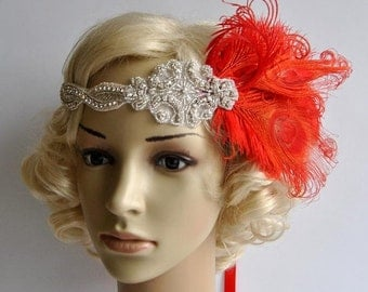 Red feather flapper The Great Gatsby headband,1920s flapper Headpiece, Bridal 1920s Headpiece ,Rhinestone headband, beaded flapper headpiece