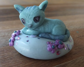 Teal Kitty Mini Figurine - polymer clay blue green - art  - sculpture - removable stand - OOAK.