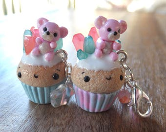 Crystal Teddy Cupcake with White Icing lobster clasp charm made from polymer clay - mystical - magic - plush - blue pink.