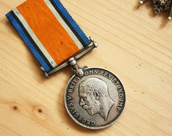 """Antique WW1 King George Sterling Silver """"The British War Medal"""", 1914-18"""