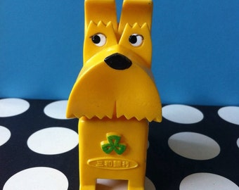 Kawaii rare Japanese vintage 60s-70s Yellow TERRIER Doggy rubber toy / piggy coin bank / figurine toy from Japan