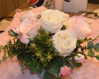 Arrangement, Rose arrangement, Succulents, Centerpiece, Flower arrangement, Wedding centerpiece. Pink roses, Ivory Roses,