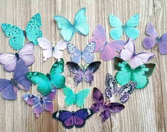 18 Teal & Purple Edible Butterflies Romantic Cake Toppers