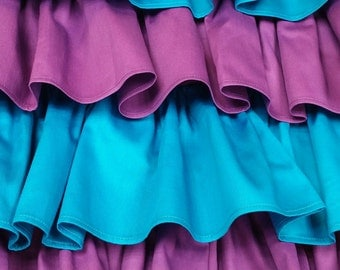 Crib Skirt Ruffle Four Tier, purple Turquoise Baby Bedding, Neutral, Made to order