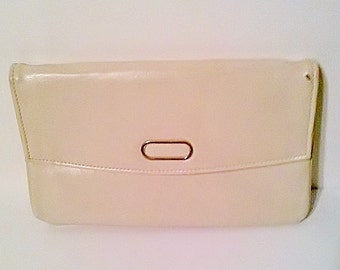 CLEARANCE Vintage 1970's Cream Clutch Bag