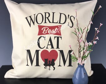 World's Best Cat or Dog Mom Pillow Cover