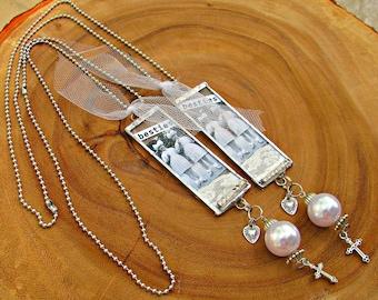 2 necklaces, Bestie necklaces, assemblage necklaces, silver necklaces, unique necklace, vintage look,  BFF, Best Friends necklace, religious