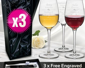 3x Personalised Wine Glasses 350ml Engraved Gift Wedding Favour Bridesmaid Personalised, Free Pen set, BOX OPTION, Free Shipping