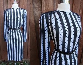Black & White Striped Dress Semi Sheer Dress with Wonderful Shoulder Pleats Belted Size Lg